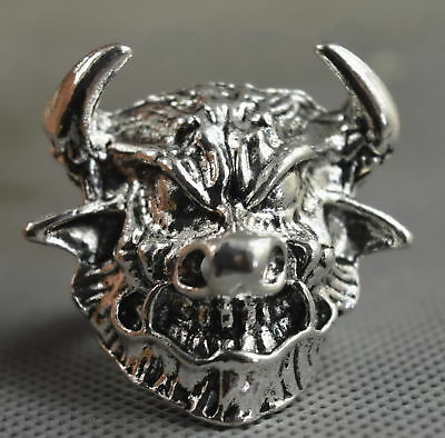 Collectable Handwork Decor Old Miao Silver Carve God Beast Head Exorcism Ring