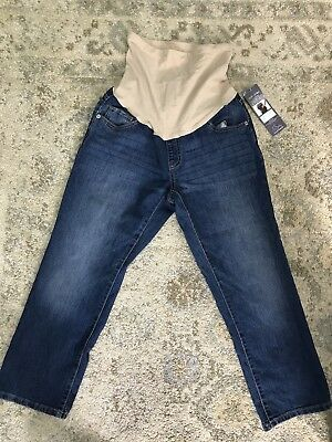 Oh Baby by Motherhood Maternity Secret Fit Belly Cropped Jeans Full Panel Sz M