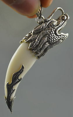 Collectable Handwork Decor Old Miao SIlver Carve Dragon Head Exorcism Pendant