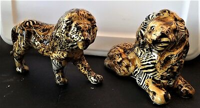 La Vie Safari Ceramic Patchwork Collection Lion And Lioness