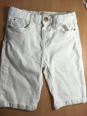 Great Pair Of White Cropped Jeans/shorts - River Island - Girls - Aged 9-10 Year
