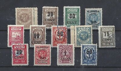 Memel Inc Lithuania Occupation A most Interesting Range Used A Dozen Stamps