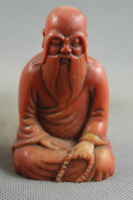 Collectable Handwork Old Shoushan Stone Carve Buddha Pray Vring Peace Statue