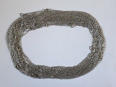 Job lot Of  25 Silver Necklaces For Jewellery making,Car boot etc (16-22 inch)