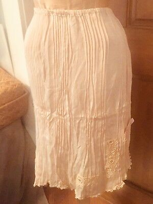 Vintage Antique 1920s 1930s Art Deco Silk Irish Lace Pleated Half Slip Lingerie