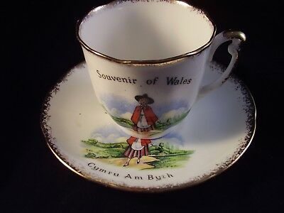 "Robert Lewis""Welsh Maid' Souvenir of Wales Cymru Am Byth Cup and Saucer"