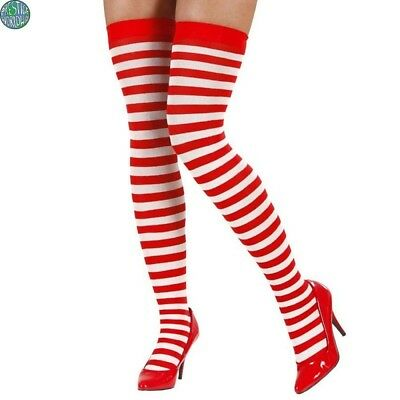 Ladies Over The Knee Red And White Striped Socks Xmas Candy Cane UK Size 4-6