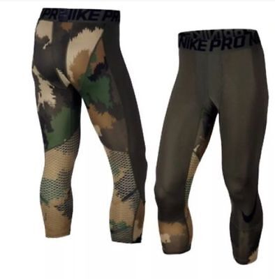 8faed699cc30a Nike Men's Pro Hypercool Printed 3/4 Training Tights Green/Camo 801801 S $50