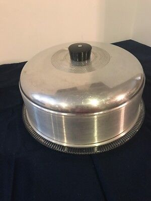 Vintage Glass Cake Plate / Stand with Stainless Steel Dome Lid
