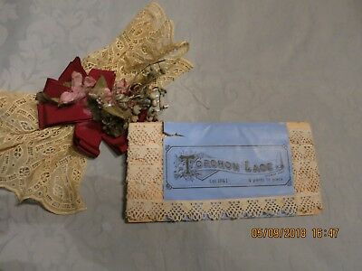 """OUTSTANDING  PACKAGE TORCHON LACE GERMAN MDE 4 Yds3/4""""m  COLLECTORS DOLL  L80"""