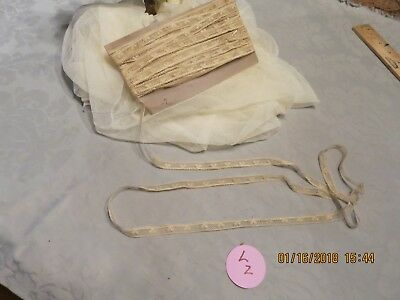"""Antique French Fine Net Lace Leaf Pattern Tiny Fringe Edge  Doll Quilt 3 Yd 3/8"""""""