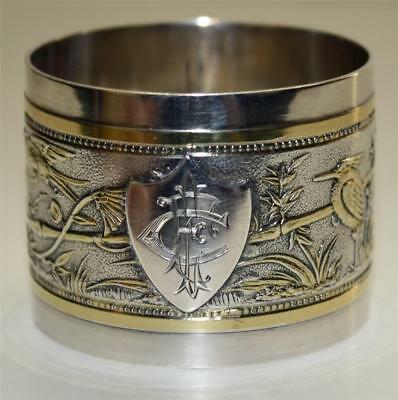 1874 Gorham Sterling and Gold Napkin Ring, Asian Scenes