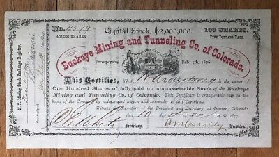 Buckeye Mining and Tunneling Co. of Colorado, Denver, 1879 Stock Certificate