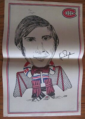 RARE Poster of Ken Dryden Montreal Canadiens 1972 Hockey (french magazine)