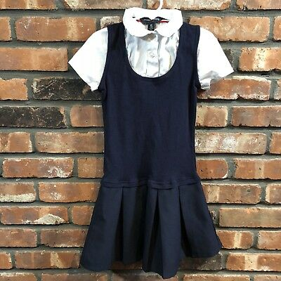 French Toast Girl's Sz 6X Navy Blue White Twofer Pleated Uniform Dress S/S EUC