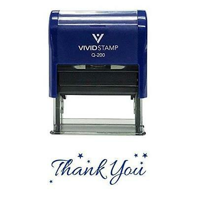 THANK YOU w/ Stars Self Inking Rubber Stamp (Blue Ink) - Medium