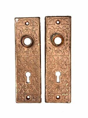 Vintage Art Nouveau ORNATE COPPER PLATED DOOR KNOB BACK PLATE Matching Pair