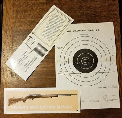 Factory WEATHERBY Deluxe MARK XXII .22 hang tag target & warranty. 1976 NOS