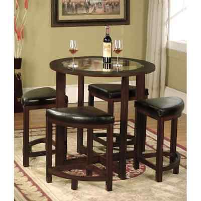 Dark Brown 5 Piece Solid Wood Compact Dining Room Apartment Furniture Table Set