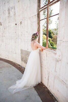 Bo & Luca Corsica Wedding Dress Gown Boho Bohemian Style 8 10 Backless Low Back