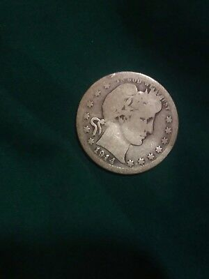 1914-S 25C Barber Quarter. Old US Coin. Priced to sell. Key Date. Rare