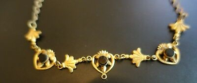 "Antique Gold Metal 16"" Necklace Hearts/ Fleur de Les with 3 Black Crystals"