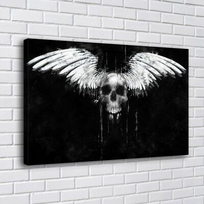 """12""""x20""""Skull Angel Wings White Home Decor HD Canvas Print Picture Wall Art"""