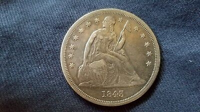 1843 Seated Liberty Silver Dollar Coin $1 Strong Details You Grade