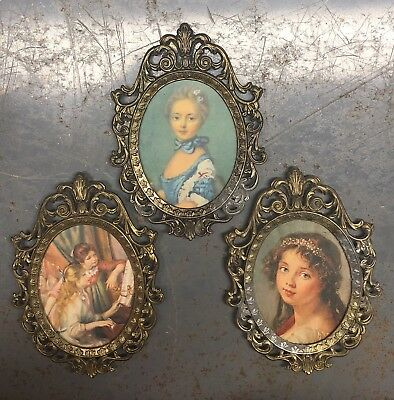 Lot set 3 small vintage ornate oval  metal picture frames Handcrafted