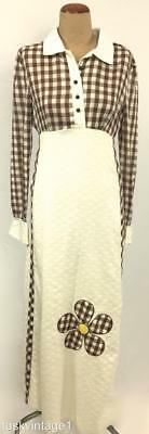 VINTAGE Ivory brown GINGHAM check chain waffle FLOWER appliqué MAXI dress 8 10