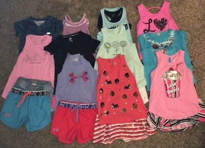 Lot Girls Size 7/8 Summer Clothes - Under Armour, Justice, Children'S Place&more