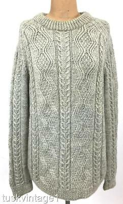 VINTAGE Mens unisex GREY cable knit soft WOOL woollen aran style jumper L