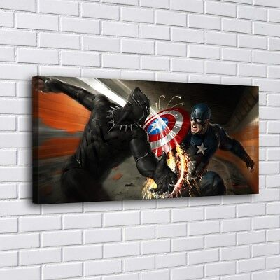 "12""x24""Captain America Home Decor Room HD Canva Print Picture Wall Art Painting"