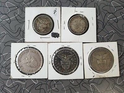 One Peso fifty centavos philippines silver usa united states uspi 5 coin group