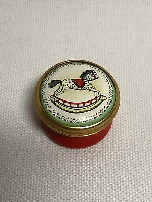 Halcyon Days Enamels Rocking Horse Red Round Trinket Box