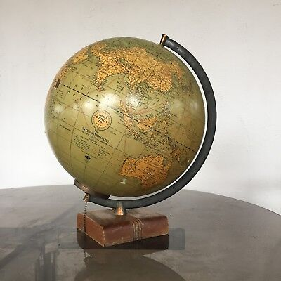 "1947 Weber Costello World 12"" Glass Globe Electric Light Illuminated Political"