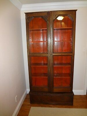 """Antique 19thC 1800s Glass Front Bookcase w/ Bottom Drawer, 86"""" Tall, Beautiful!"""