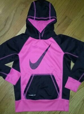 Nike Girls Size S Therma-Fit  Pullover Hoodie Pink and black ...perfect cond