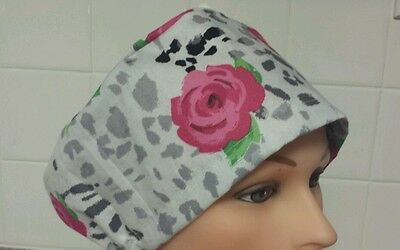 Pink  Roses w / black and  gray  spots /pixie / scrub medical /chemo / hat / cap