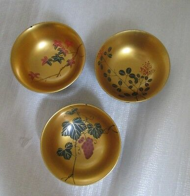 As is Vintage 3 JAPANESE Takamaki-e Lacquer Bowls Vermillion & Black As Found