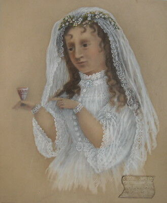 antique VICTORIAN 1875 FOLK ART PAINTING YOUNG BRIDE GLASS of WINE WEDDING RING