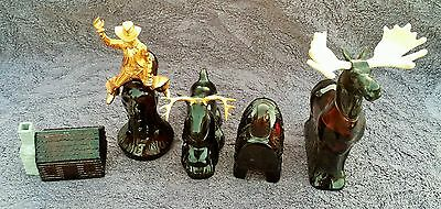 Vintage Avon  Western Theme Moose Buck Deer Sadle Cowboy Cabin Glass Bottles