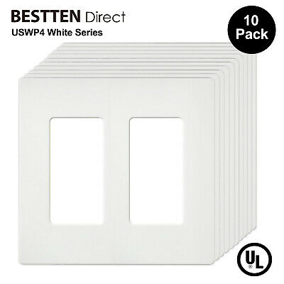 10 Pack 2 Gang Decorator Screwless Wall Plate Outlet Cover for Decora Rocker