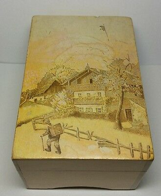 Vintage Switzerland Thorens Music Box 2 Songs Hand Painted Cover home sweet home