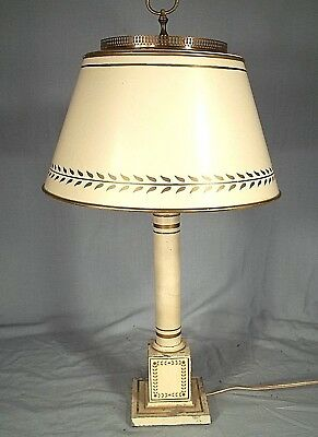 Vintage Mid Century Classical Decorated White French Tole Column Lamp