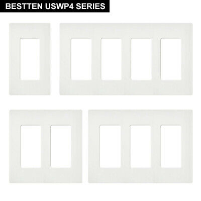 10 Pack BESTTEN Screwless Wall Plate Outlet Covers for Switches, 1-4 Gang, White