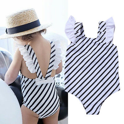Newborn Kids Baby Infant Girls Romper Stripe Jumpsuit Bodysuit Outfits Clothes