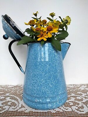 "Vintage Blue Swirl Graniteware Coffee Pot Enamelware 10.5"" Splattered Sponged"