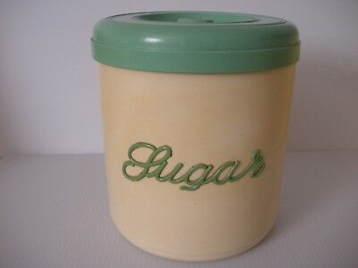 Vintage Collectable 1950's genuine Nally Ware Cream and Green Sugar canister