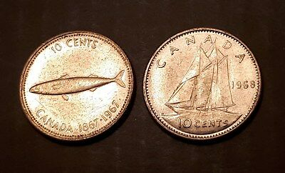 1967 Canada 10 Cents (80% Silver) and 1968 Canada 10 Cents (50% Silver) Coins